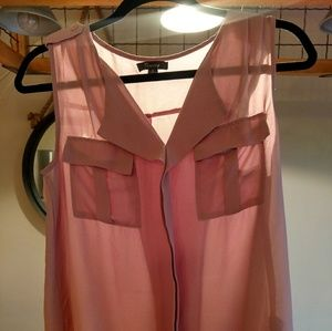 Timing flowy semi sheer top in blush size small